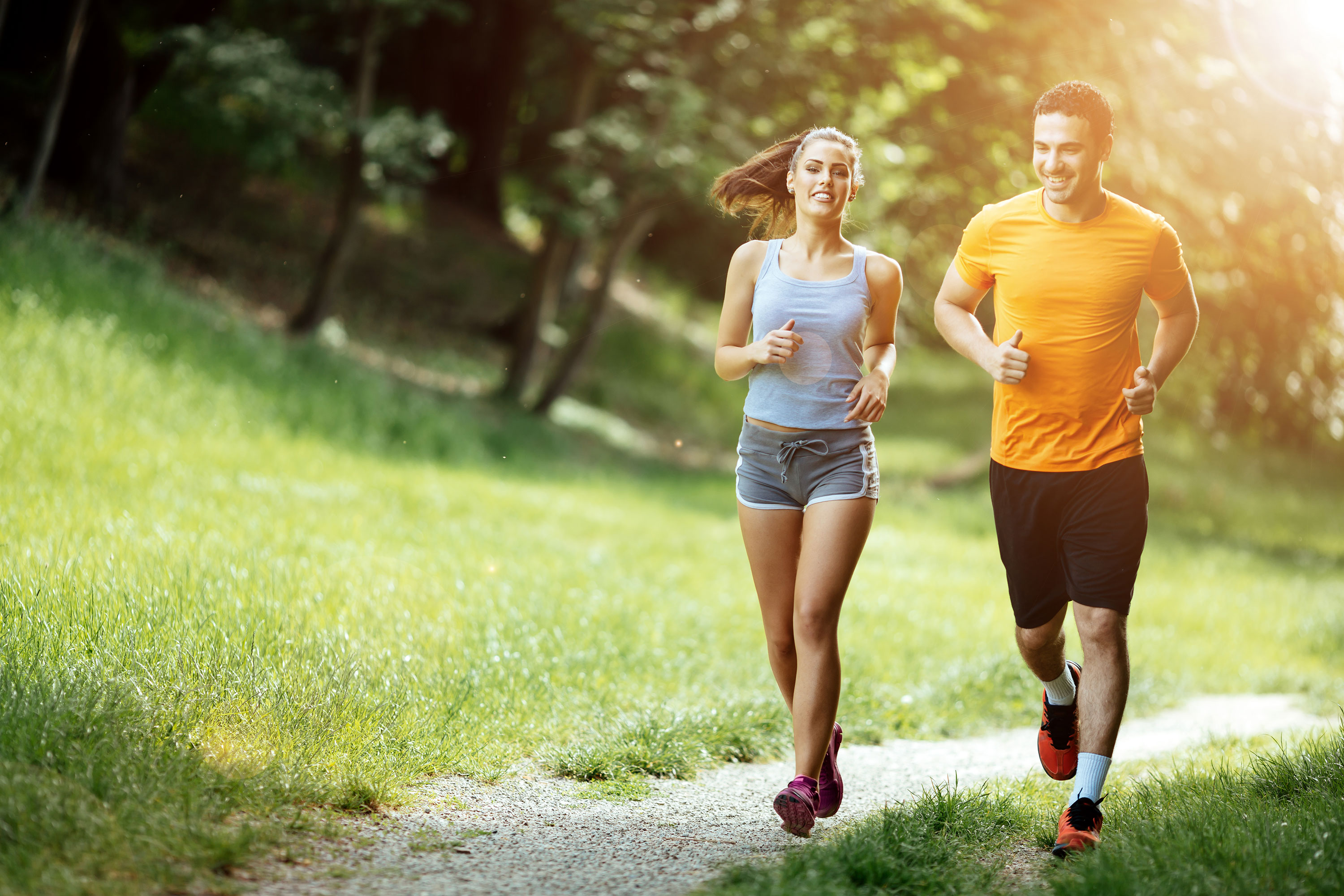 young couple jogging weight management